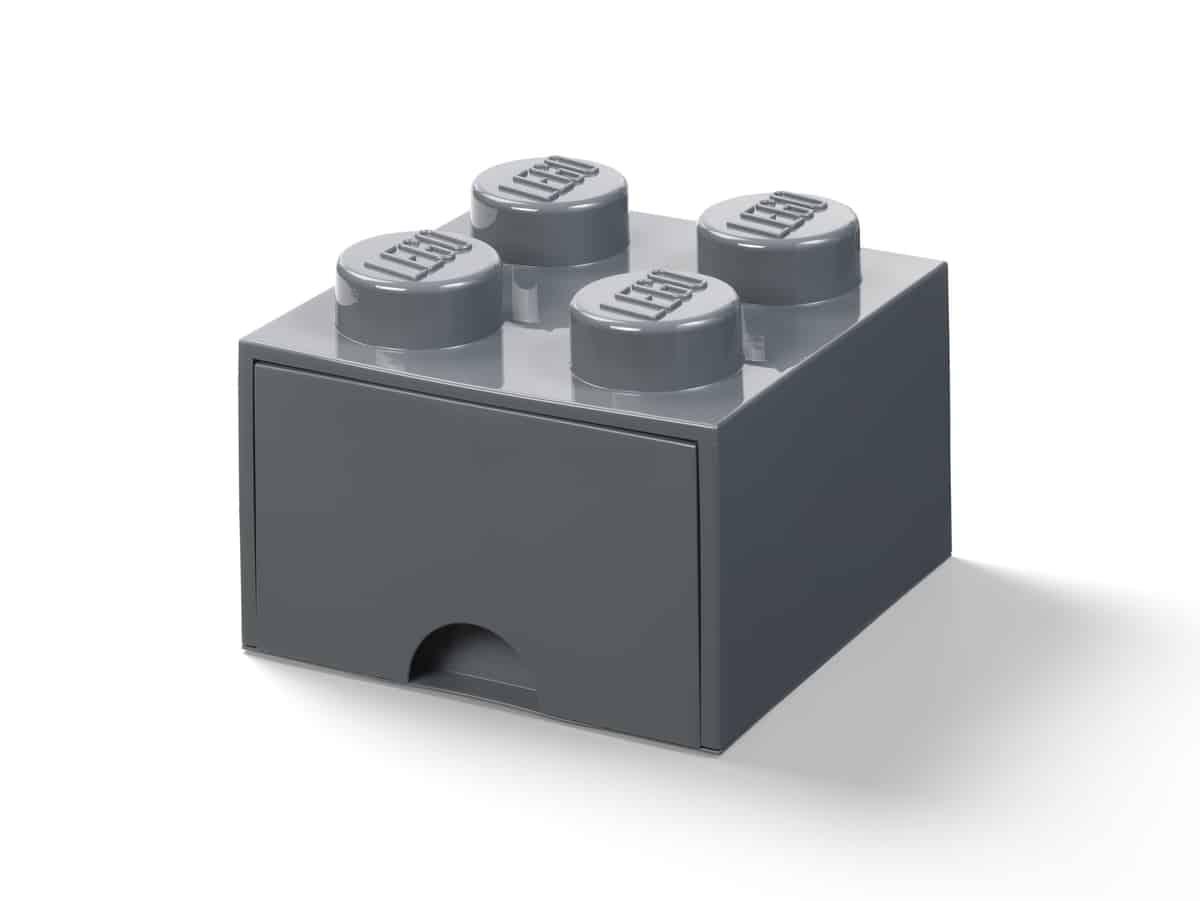 lego 5006328 zasuvka v tvare kocky so 4 vystupkami tmavosiva