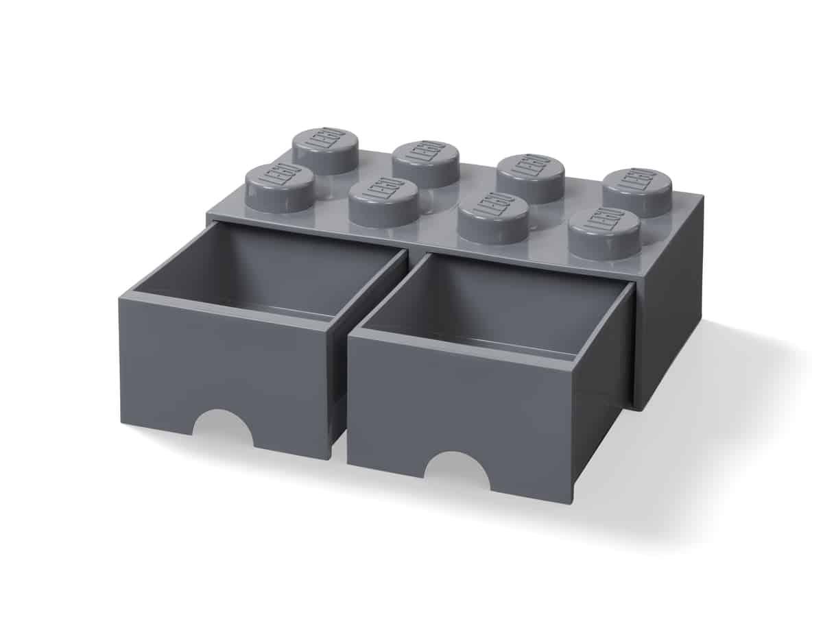 lego 5006329 zasuvka v tvare kocky s 8 vystupkami tmavosiva